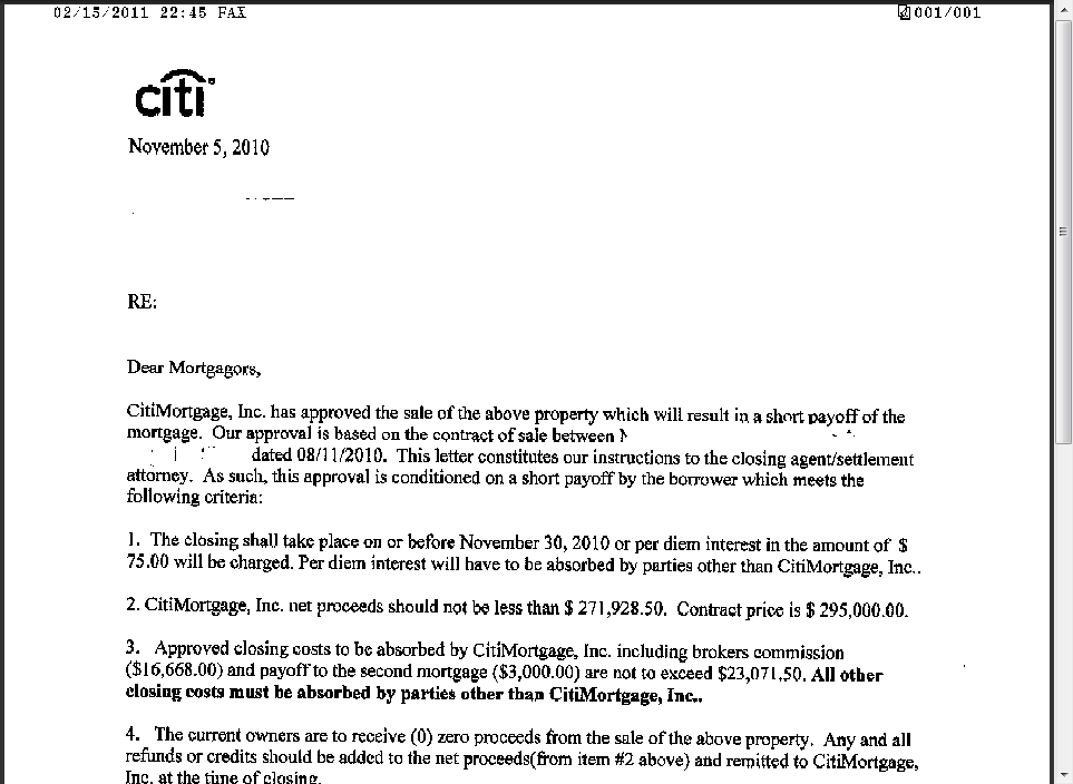 short sale proof citi bank mortgage short sale approval letter