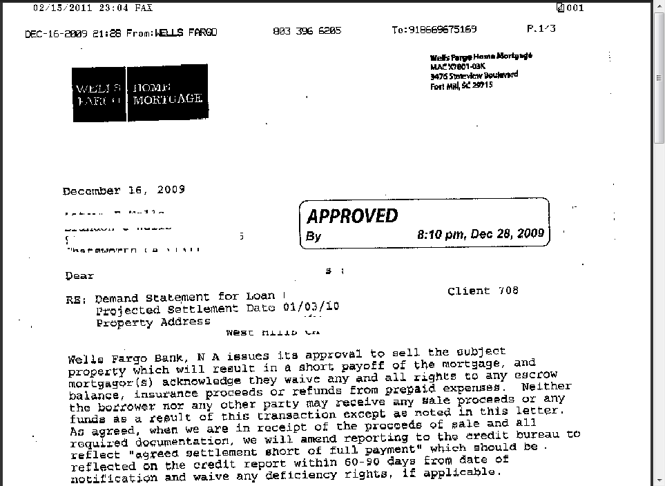 Wells Fargo Short Sale Approval Letter